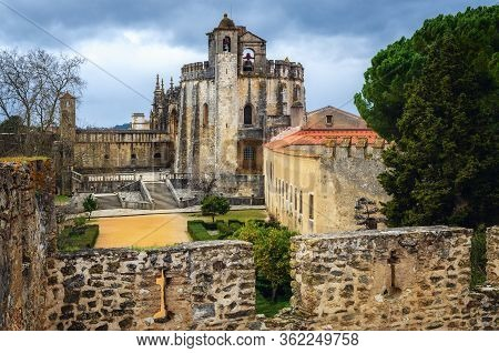 The Convent Of Christ, Ancient Templar Stronghold And Monastery In Tomar, Portugal, Seen From Outsid