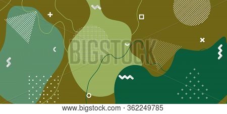 Trendy Camouflage Composition. Creative Camo Wave Cover. Summer Forest Military Collage. Minimal Cam