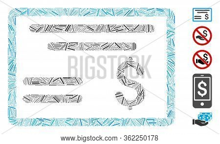 Linear Collage Dollar Cheque Icon Composed Of Thin Items In Various Sizes And Color Hues. Vector Lin