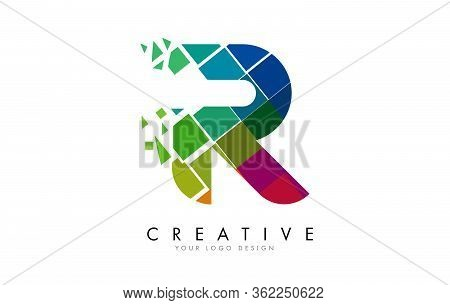 Letter R Design With Rainbow Shattered Blocks Vector Illustration. Pixel Art Of The R Letter Logo.