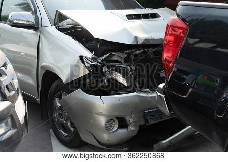 Car Crash Accident On The Road.damaged Automobiles After Crashing By Drunk Driving.traffice Jam By C