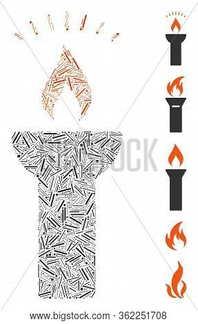 Linear Collage Fire Torch Light Icon Constructed From Thin Elements In Different Sizes And Color Hue