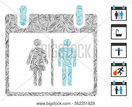 Line Mosaic Water Closet Calendar Day Icon Organized From Straight Items In Various Sizes And Color