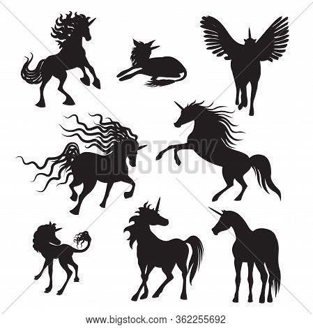 Vector Silhouette Unicorns Image Collection. Elements For Design. Set Of Cute Silhouette Unicorns. F