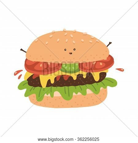 Kawaii Burger Character. Funny Fastfood With Small Eyes, Hands , And Smile For Fast Food Kids Menu.