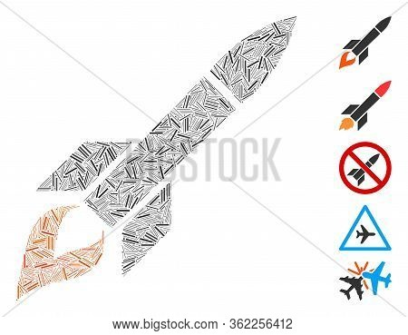 Linear Collage Missile Flight Icon Constructed From Narrow Elements In Various Sizes And Color Hues.