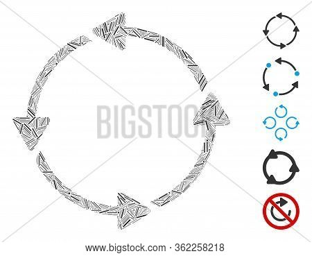 Linear Collage Circular Route Icon Organized From Straight Elements In Different Sizes And Color Hue