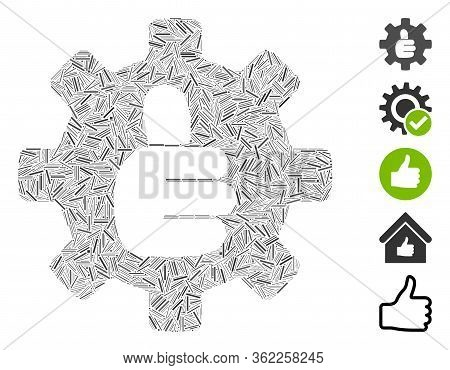 Line Mosaic Gear Thumb Ok Icon United From Narrow Items In Various Sizes And Color Hues. Vector Line