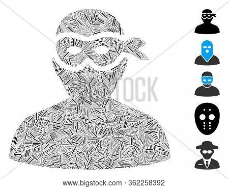 Linear Mosaic Masked Thief Icon Constructed From Narrow Elements In Variable Sizes And Color Hues. V