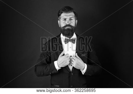 Groom Bearded Hipster Man Wear Tuxedo And Blue Bow Tie. Wedding Day Concept. Stylish Groom. Elegant
