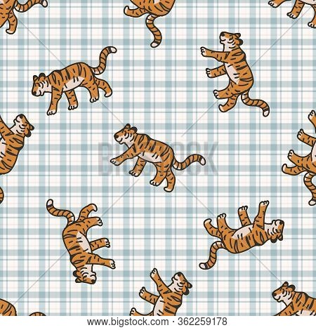 Cute Tiger Seamless Vector Pattern. Hand Drawn Striped Big Cat For Safari Jungle Illustration. Benga