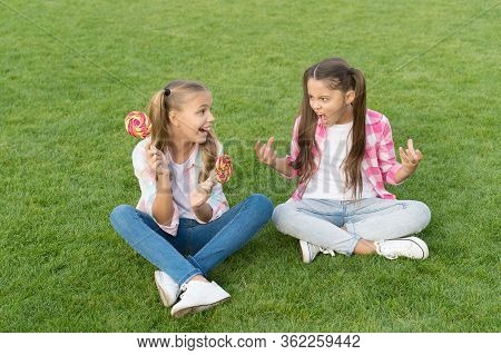 Sweets Are Bad For My Teeth. Unhappy Child Show Teeth To Little Girl. Dental Health. Dental Hygiene.