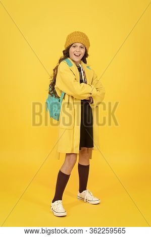 Outfit For Daily School Life. Feeling Cool And Stylish. Fall Fashion. Little Girl Wearing Stylish Ha