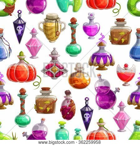 Magic Potion Bottles Vector Seamless Pattern. Halloween Background Of Glass Bottles And Flasks With