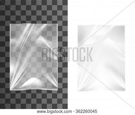 Plastic Bags Vector Design Of 3d Realistic Package. Empty Transparent Polyethylene Container, Pouch,