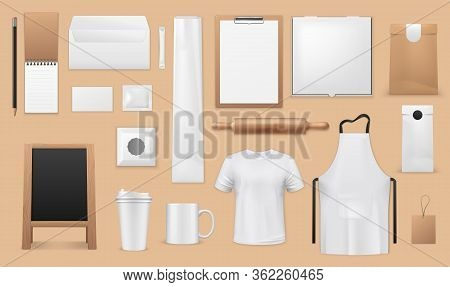 Bakery And Pastry Shop Corporate Identity Realistic Templates. Vector Blank Mockups Of Apron, Bread