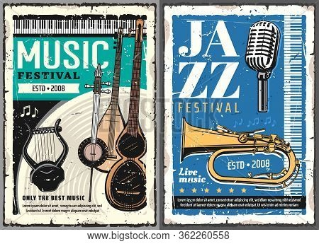 Musical Festival Of Jazz And Folk Music Grunge Posters. Vector Musical Instruments, Retro Microphone