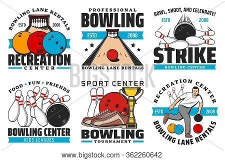 Bowling Sport Club Vector Icons With Game Balls And Pin Strike On Alley, Bowling Competition Winner