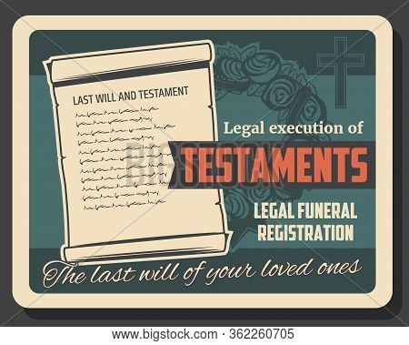 Funeral Service, Will And Testament Execution Vector Design Of Burial, Cremation And Interment. Memo
