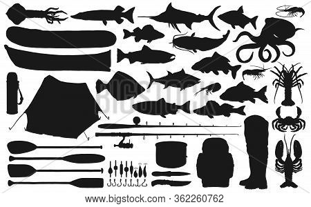 Fisherman Equipment, Tackle And Fish Black Silhouettes Of Fishing Sport Vector Design. Fishing Rods,
