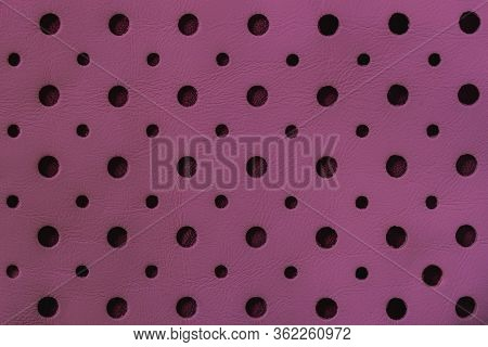 Texture Of Genuine Geometric Perforated Genuine Leather Close-up, Trendy Purple Color