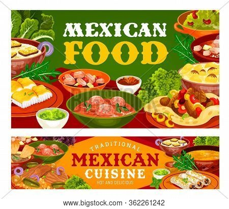 Mexican Food Vector Design Of Vegetable, Fish And Meat Restaurant Dishes. Fajitas And Burritos With