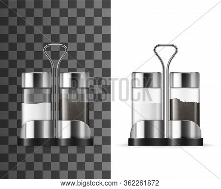 Salt And Pepper Shakers Realistic Vector Design Of Kitchen , Food Seasonings And Condiments. 3d Glas