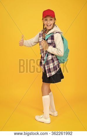 Cool Schoolgirl. Happy Childhood. Cute Hipster Teenager Kid Yellow Background. Cheerful Teenager. Sm
