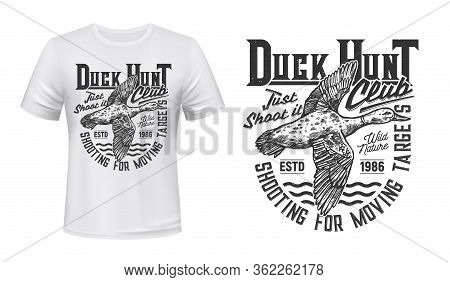 Duck Hunting Sport T-shirt Print Vector Mockup With Flying Mallard Duck Bird. Hunter Club Of Waterfo
