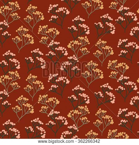Seamless Vector Pattern. Texture With Stylized Minimalistic Branches Of Pink And Yellow Flowers. Gre