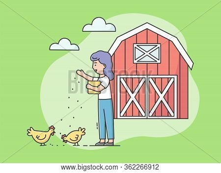 Concept Of Eco Farming, Poultry Farm. Woman Is Feeding Chicken By Grains On The Farmyard. Woman Take