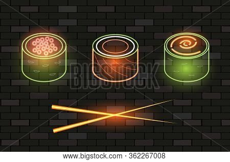 Japanese Traditional Cuisine, Neon Icons Advertising, Sushi Set Menu Icons. Vip Neon Type Of Sushi R