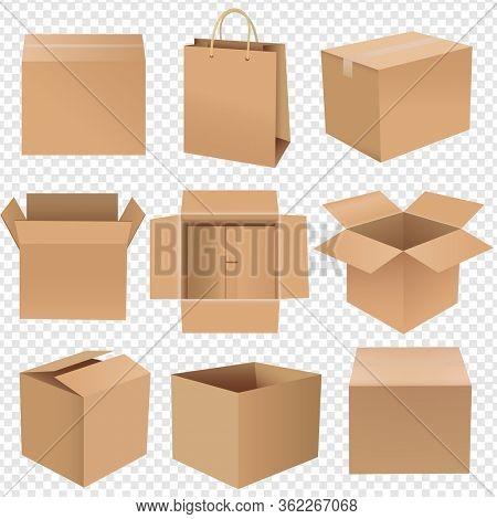 Shipping Box Big Set Isolated Transparent background