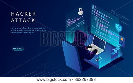 Isometric Internet And Personal Data Hacker Attack Concept. Website Landing Page. The Hacker At The