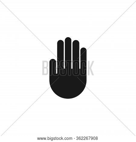 Hand Stop Vector Symbol Isolated On White Background In Flat Style