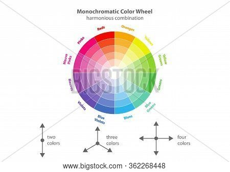 Monochromatic Color Wheel, Color Scheme Theory. Circular Color Scheme With A Harmonious Selection Of