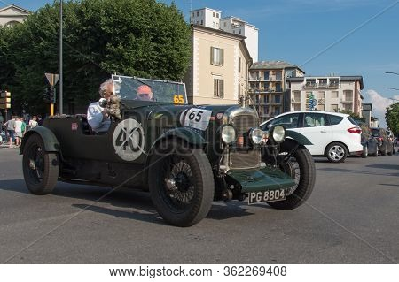 Brescia, Italy - May 19 2018: Lagonda 2 Litre Brooklands 1929 Is An Old Racing Car In Rally Mille Mi