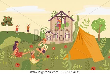 People In Garden, Picnic In Backyard Of Country House, Outside In Summer Nature With Kids And Tent F