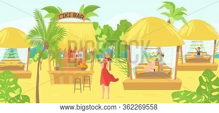 Sea Bungalows For Tourists And Vacationers People On Tropical Thai Resort, Massage, Hut For Meditati