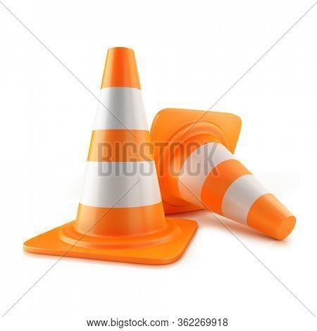 Traffic road cone. 3d illustration