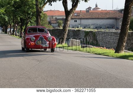 Brescia, Italy - May 19 2018: Fiat 1100 508 C Mm Berlinetta 1938 Is An Old Racing Car In Rally Mille