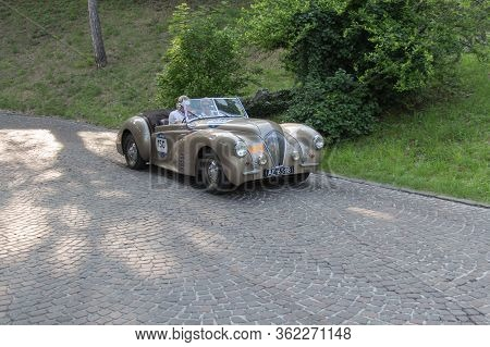 Brescia, Italy - May 19 2018: Healey 2400 Westland 1947 Is An Old Racing Car In Rally Mille Miglia 2