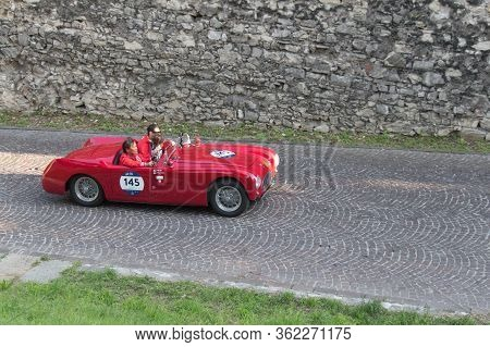 Brescia, Italy - May 19 2018: Cisitalia 202 S Mm Spider 1947 Is An Old Racing Car In Rally Mille Mig
