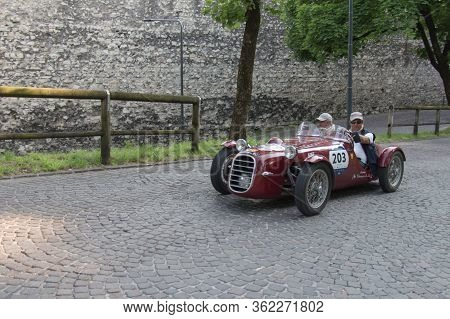 Brescia, Italy - May 19 2018: Dagrada 750 Sport 1950 Is An Old Racing Car In Rally Mille Miglia 2018