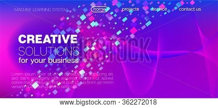Falling Particles Distressed Purple Vector. Big Data Neon Background. Pink Blue Purple Futuristic Gr