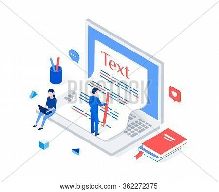 Copywriting, Blogging Isometric Concept. Copywriter Writes Text On A Large Laptop. Trendy Flat 3d Is