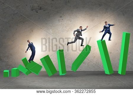 Business people in a collapsing economy concept