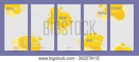 Social Stories Template. Set With Yellow Liquid Abstract Funky Design For Business Stories, Photogra