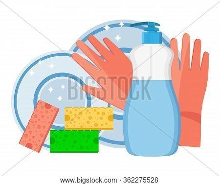 Dishwashing. Plastic Bottle With Dishwashing Detergent, Kitchen Sponges And Cleaning Gloves. Flat De