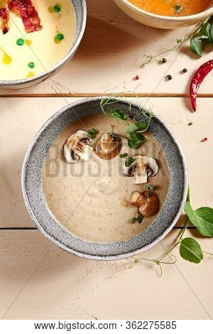 Forester soup with cheese rusks in gray bowl. Liquid dish, first course with greenery and mushrooms decoration close up. Served creamy broth, puree, mashed soup. Hot restaurant meal